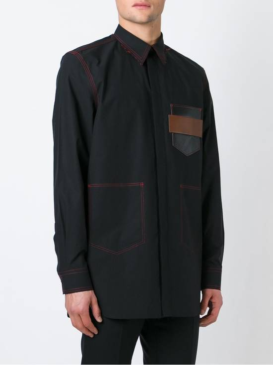 Givenchy Black Leather Pocket Shirt Size US M / EU 48-50 / 2 - 2