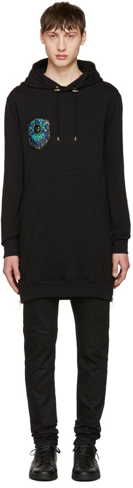 Balmain Black Gold Crest Embroidered Hoodie Size US S / EU 44-46 / 1