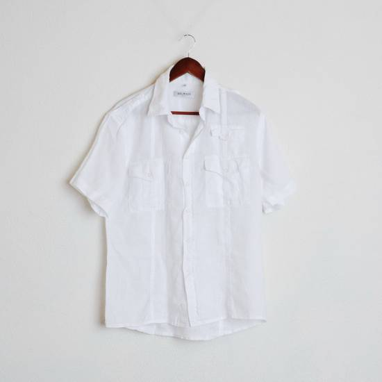 Balmain Balmain Paris White Short Sleeve military Linen Cotton Casual Shirt M Man #168 Size US M / EU 48-50 / 2
