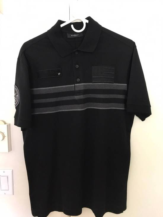 Givenchy Givenchy Polo, Striped Black Grey, Military Patches Flag, Cuban Fit, Size Large, Retail $530 Size US L / EU 52-54 / 3