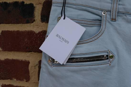 Balmain Light Blue Biker Jeans Size US 34 / EU 50 - 6