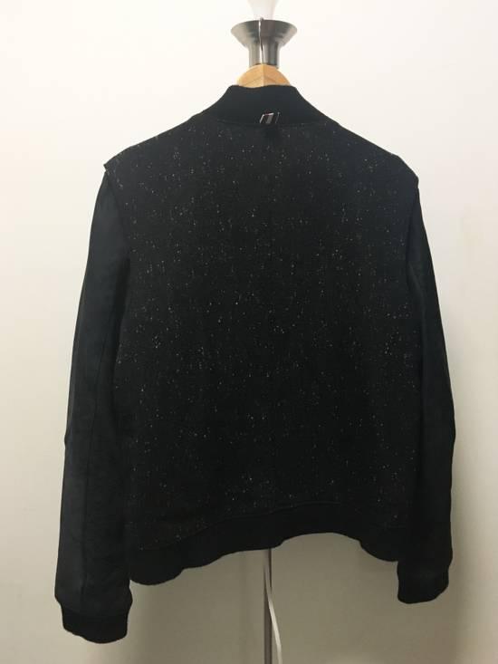 Thom Browne Men's Black Full Grain Nubuck and Donegal Wool Bomber Jacket Size US L / EU 52-54 / 3 - 2