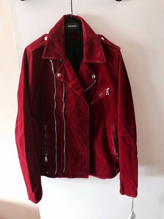 Balmain Red Velvet Biker Jacket Brand New With Tags Size US L / EU 52-54 / 3