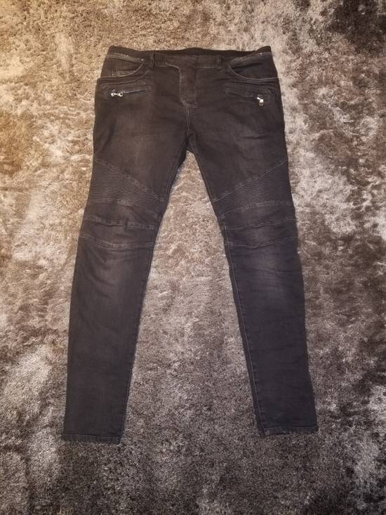 Balmain Grey Signature Biker Denim Size US 36 / EU 52