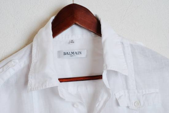 Balmain Balmain Paris White Short Sleeve military Linen Cotton Casual Shirt M Man #168 Size US M / EU 48-50 / 2 - 2