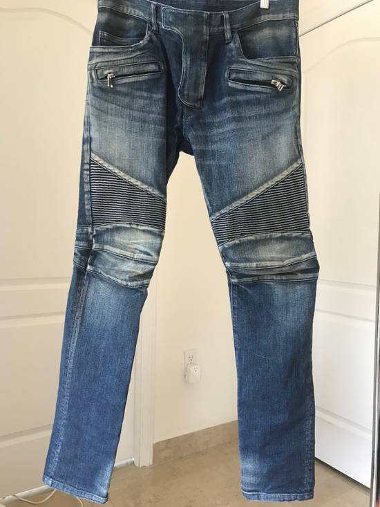 Balmain Blue Washed Biker Jeans Size US 31