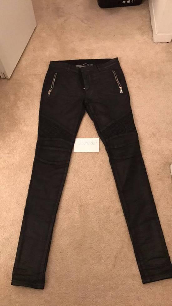 Balmain Balmain Black Waxed Biker Jeans Size US 31