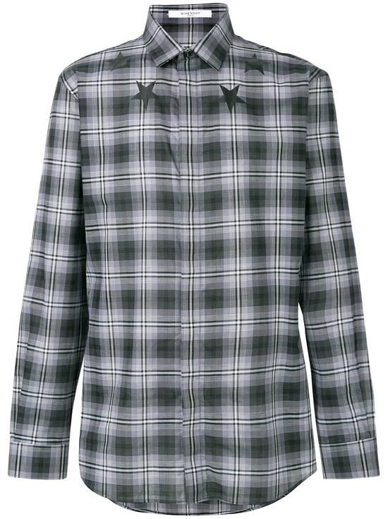 Givenchy Grey Plaid Stars Print Shirt Size US XL / EU 56 / 4 - 1
