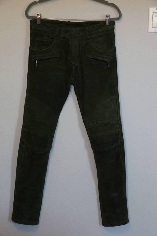 Balmain Balmain Green Lamb Suede Leather Biker Pants Size: 28-XS Size US 28 / EU 44 - 3