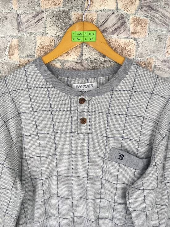 Balmain BALMAIN PARIS Sweatshirt Checkered Medium Gray Vintage 90s Balmain Plaid Checkered Balmain Paris Pullover Jumper Size M Size US M / EU 48-50 / 2 - 1