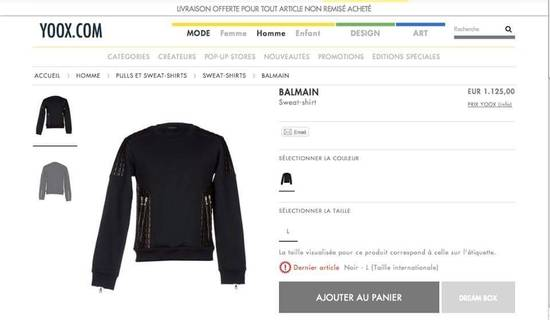 Balmain Balmain quilted leather and cotton sweatshirt Size US S / EU 44-46 / 1 - 2