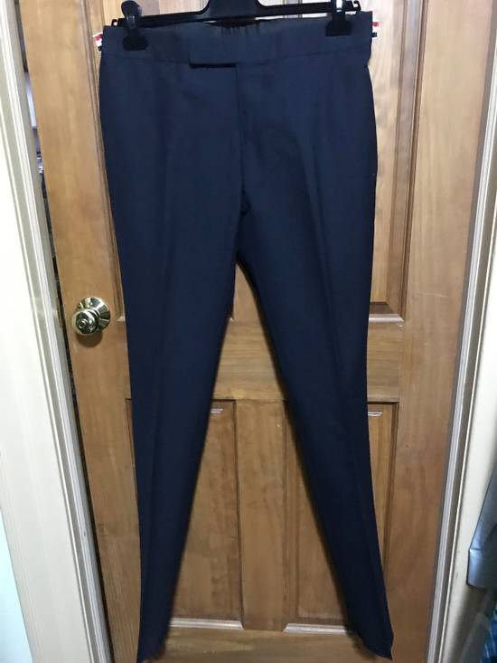 Thom Browne Navy Wool 2-Ply Fresco Low-rise Trousers Size 3 Size 34R - 5
