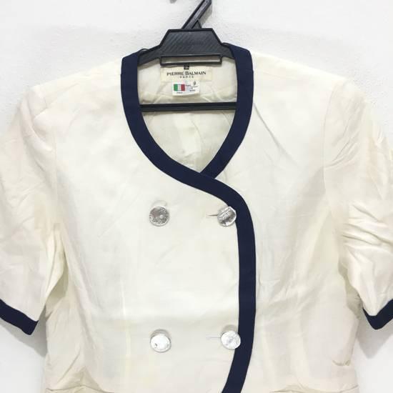 Balmain PIERRE BALMAIN PARIS Double Breasted Made In ITALY White Blouse Jacket Blazer Size 36S - 1
