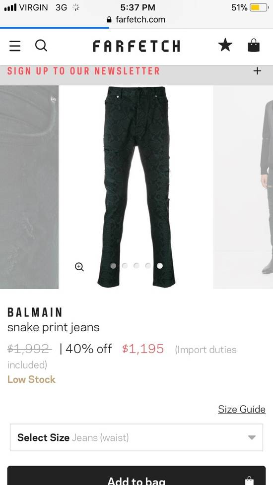 Balmain BNWT $2.1K Snake Finish Print Distressed Holes Jeans Denim Biker Moto Motorcycle Clout Streetwear Tapered Size US 32 / EU 48 - 2
