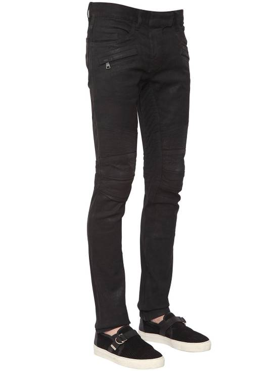 Balmain Balmain Black Denim Coated Authentic Biker $1230 Jeans Size 31 Brand New Size US 31