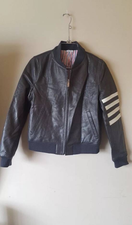 Thom Browne 4 Bar Stripe Leather Bomber Jacket Black Size US S / EU 44-46 / 1