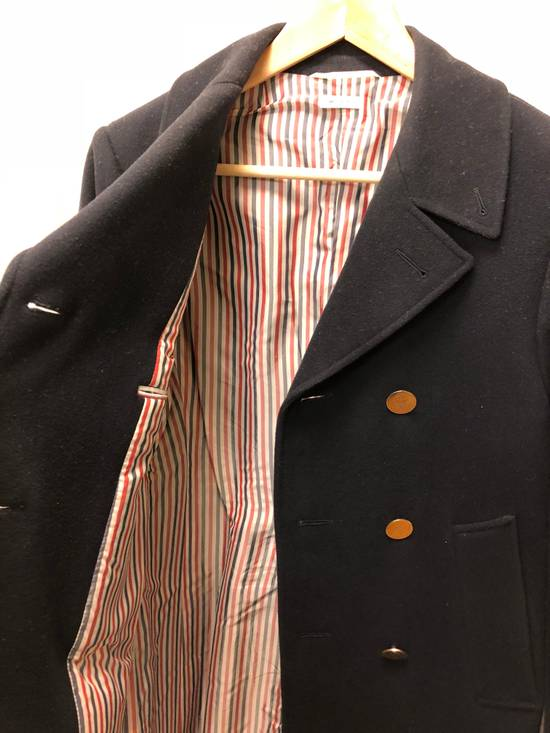 Thom Browne Navy melton wool double-breasted coat Size US XS / EU 42 / 0 - 6