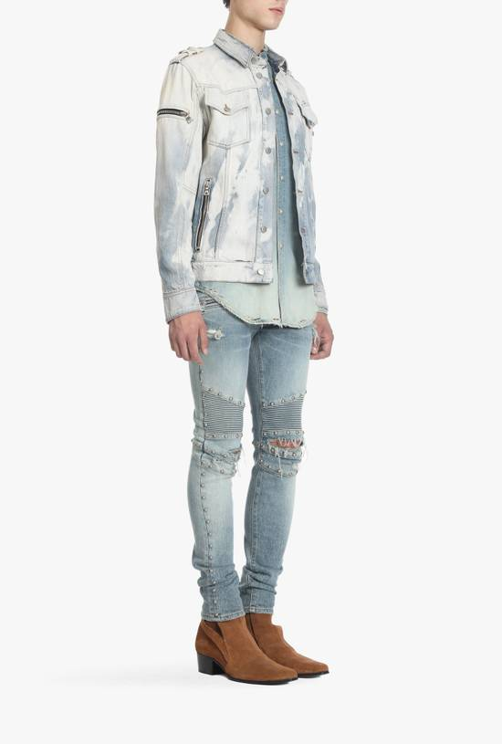 Balmain Light Blue Distressed Denim Jacket Size US S / EU 44-46 / 1 - 2