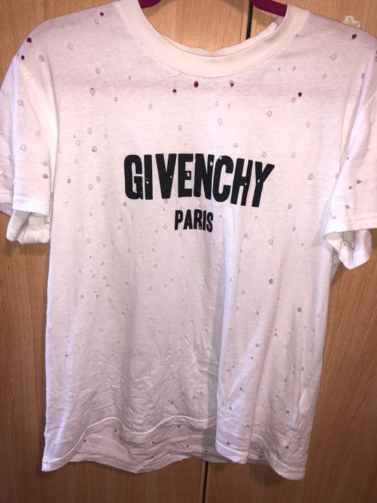 Givenchy Distressed White Tshir Size US L / EU 52-54 / 3