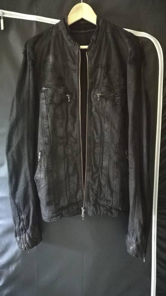 Julius 2009AW Coated Distress Denim Biker Jacket Size US L / EU 52-54 / 3 - 1