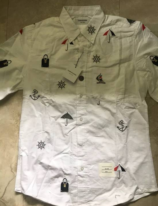 Thom Browne White - Nautical Embroidered All-Over Icon Oxford Size US L / EU 52-54 / 3