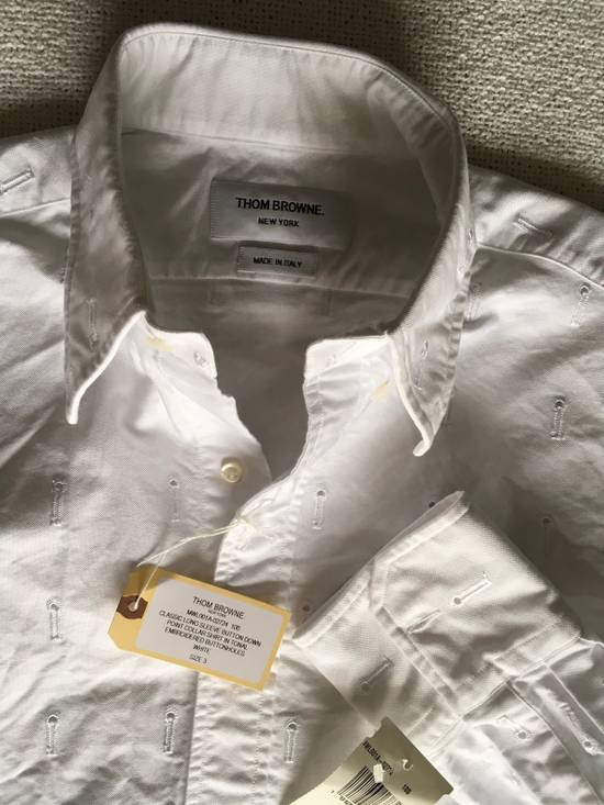 Thom Browne Button-Down Collar Embroidered Cotton Oxford Shirt, White Size3/Medium Brand New With Tags Size US M / EU 48-50 / 2 - 2