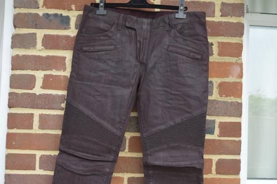 Balmain Bordeaux Waxed Biker Jeans Size US 34 / EU 50 - 1