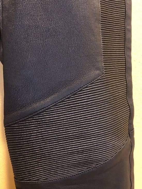 Balmain Slim Fit Biker Style Leather Sweatpants Size US 34 / EU 50 - 2