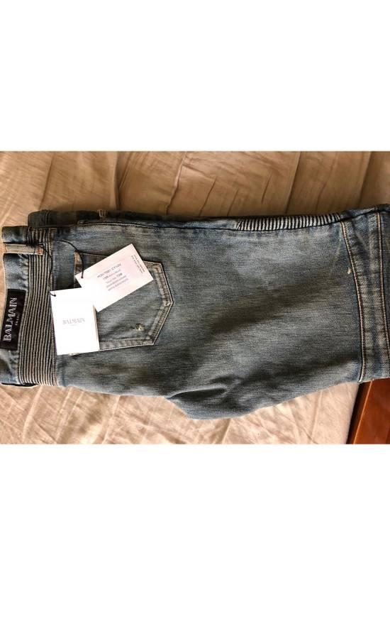 Balmain Blue Distressed Biker Jeans Size US 38 / EU 54 - 3