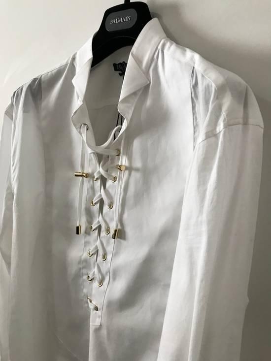 Balmain Size 39 - White Lace-Up Cotton Shirt - SS17 - $1200 Size US M / EU 48-50 / 2 - 2
