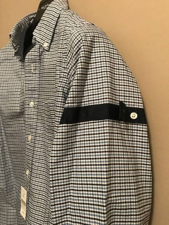 Thom Browne Blue Gingham Shirt with Grosgrain Arm Bands NEW Size US L / EU 52-54 / 3 - 7