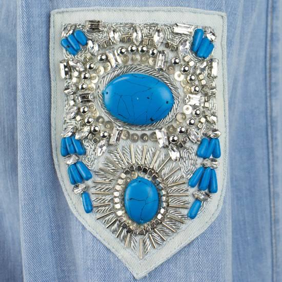 Balmain Denim Embroidered Button Down Casual Shirt Size 17 US 43 EU Size US XL / EU 56 / 4 - 5