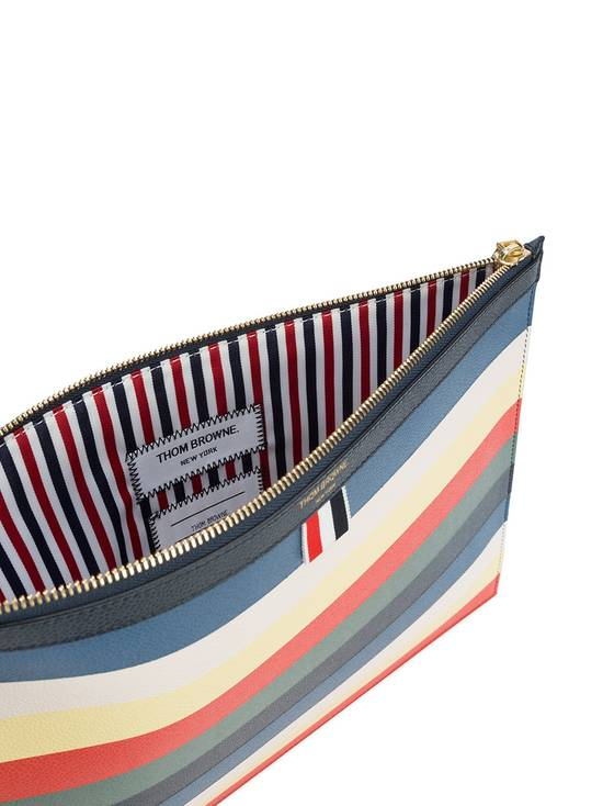 Thom Browne Multicoloured leather striped zip pouch Size ONE SIZE