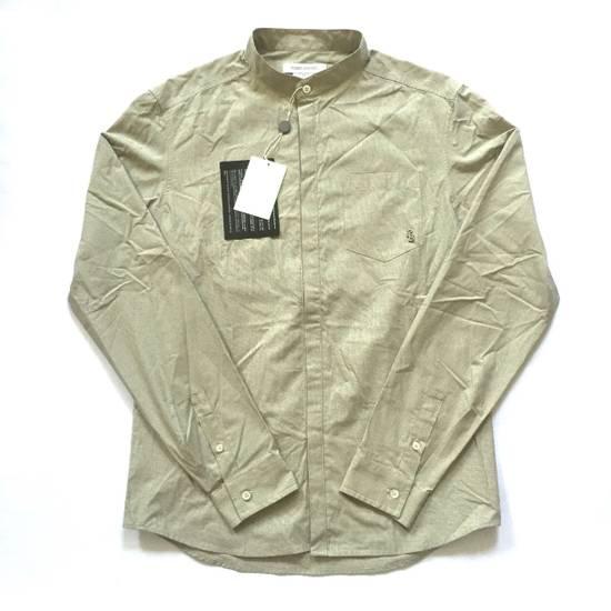 Balmain Tan Band Collar Metal Logo Shirt NWT Size US M / EU 48-50 / 2