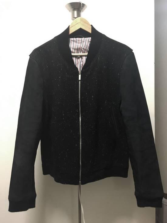 Thom Browne Men's Black Full Grain Nubuck and Donegal Wool Bomber Jacket Size US L / EU 52-54 / 3 - 1