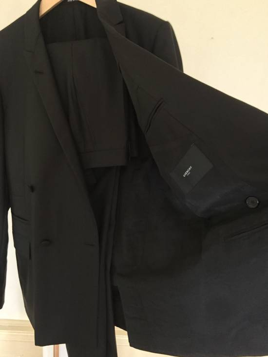 Givenchy Black Herringbone Wool Blazer Slim-Fit Full Suit Size 38R - 3