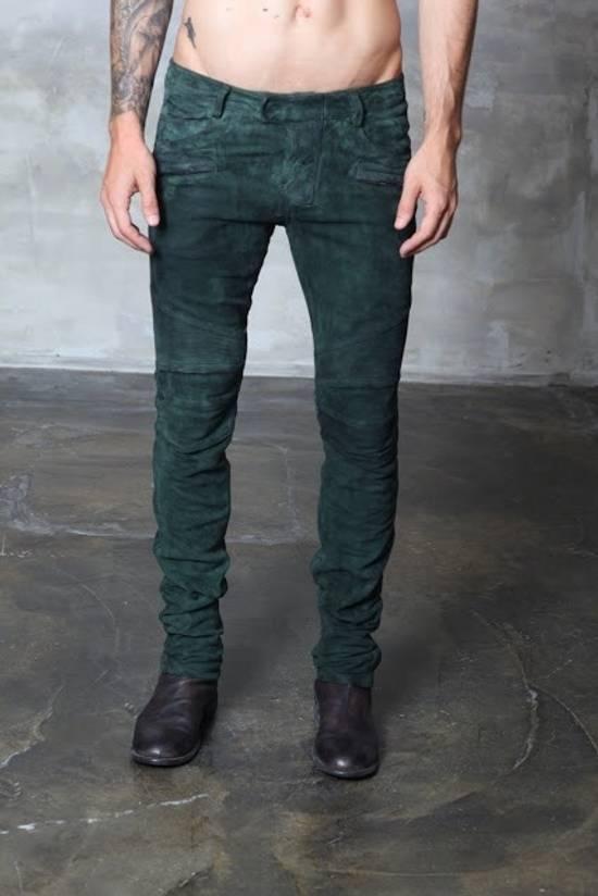 Balmain Balmain FW 2012 Green Suede lambskin Pants Size US 29 - 1