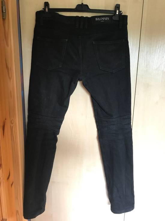 Balmain Black Biker Balmain Jeans Grey/Charcoal Washed Denim Size US 32 / EU 48 - 1