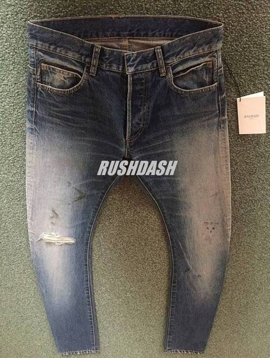 Balmain Knee Rip Blue Faded Twist Jeans(Made in Japan/15.5cm) Very Rare! Size US 29