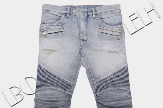 Balmain 1565$ Skinny Light Blue Distressed Biker Jeans Size US 30 / EU 46 - 2