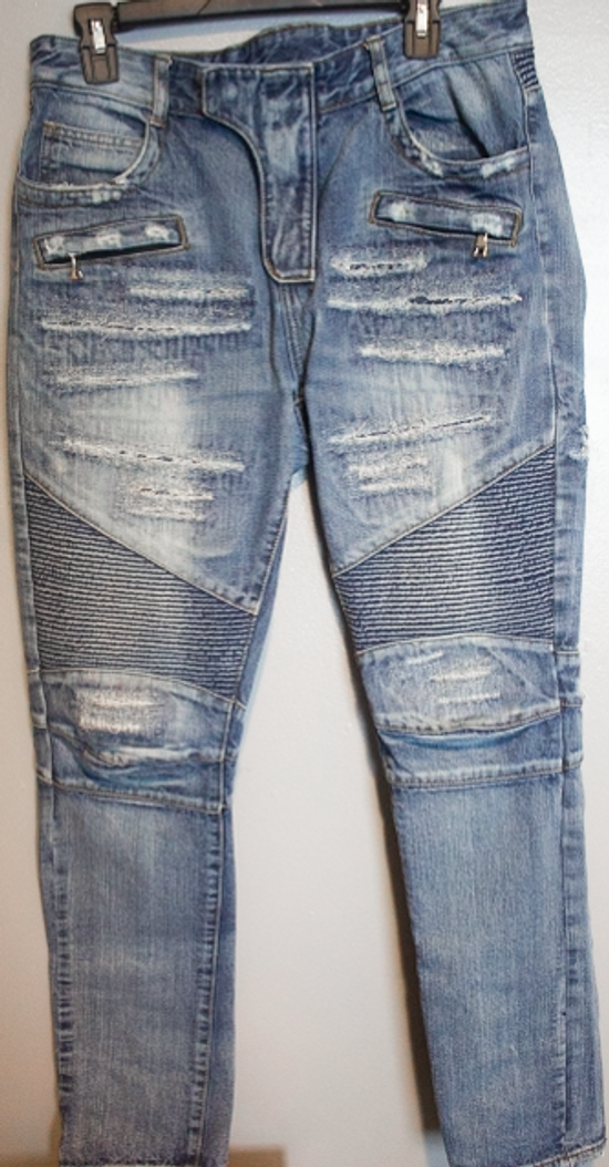 Balmain SLIM-FIT COTTON DENIM BIKER JEANS Size US 35