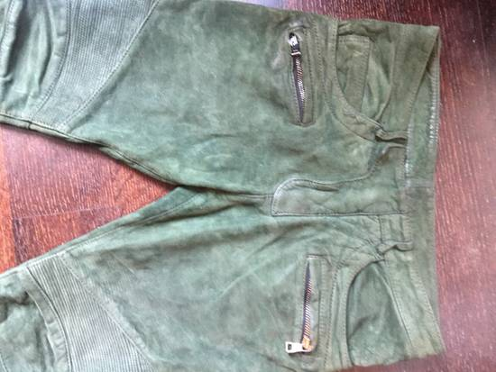 Balmain Balmain FW 2012 Green Suede lambskin Pants Size US 29 - 5