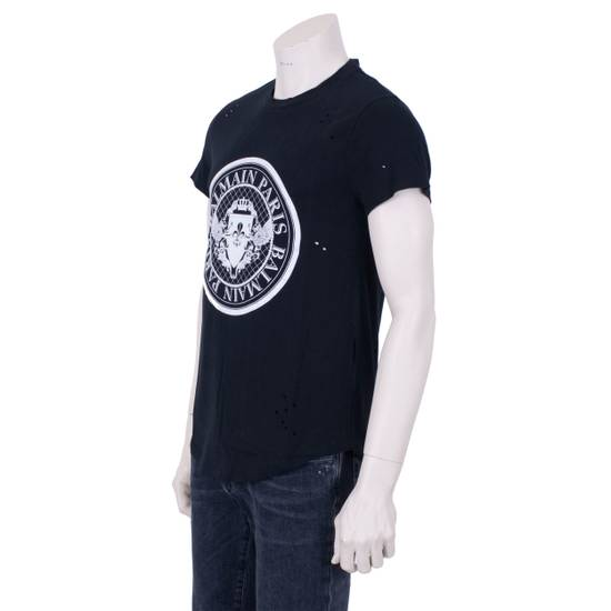 Balmain SS18 Black Cotton Balmain Velvet Logo Print Tshirt Size US S / EU 44-46 / 1 - 6