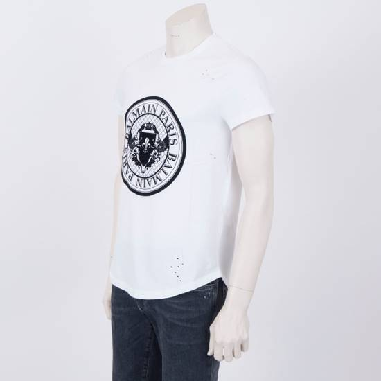 Balmain SS18 New White Cotton Balmain Velvet Logo Print Tshirt Size US M / EU 48-50 / 2 - 1