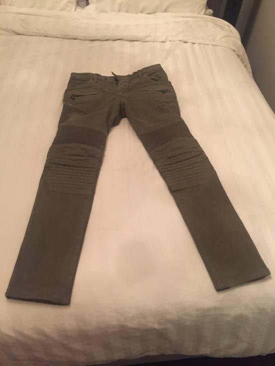 Balmain Green Moto Jeans Size US 31 - 2