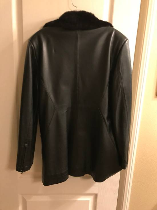 Givenchy Givenchy Woman's Leather Long Jacket with Fur Collar Size US XS / EU 42 / 0 - 1