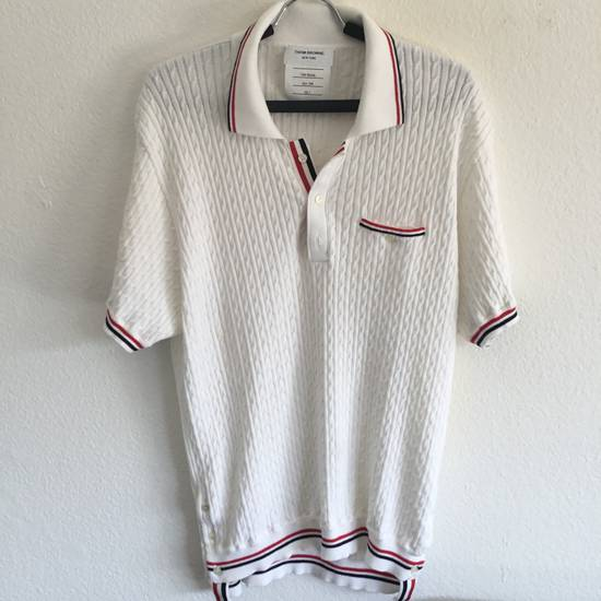 Thom Browne WED-THURS SALE $1190 THOM BROWNE CABLE KNIT POLO SHIRT JUMPER NEW rare Size US XL / EU 56 / 4
