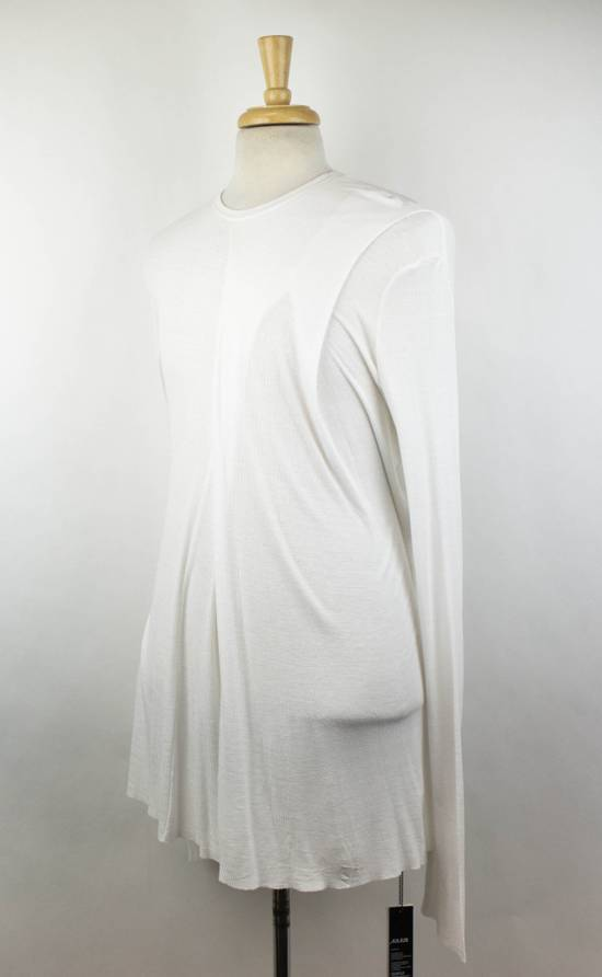 Julius 7 White Silk Blend Long Sleeve Long Ribbed Crewneck T-Shirt 3/M Size US M / EU 48-50 / 2 - 1