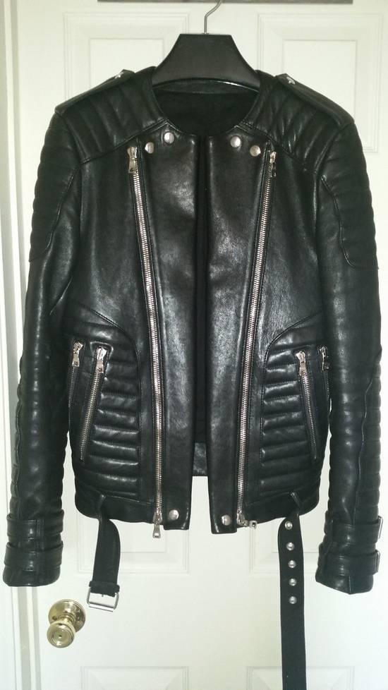 Balmain Black Lambskin Overlong Biker Perfecto Jacket EU48/US38 Size US M / EU 48-50 / 2 - 1