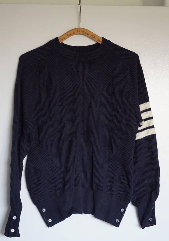 Thom Browne Blue Striped Ribbed-Knit Cotton Sweater Size US M / EU 48-50 / 2 - 2